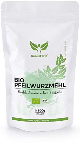 NaturaForte Bio Pfeilwurzelmehl 500g – Natürliches Pfeilwurzmehl als Bindemittel oder Eiersatz vegan zum Backen, Arrowroot Powder