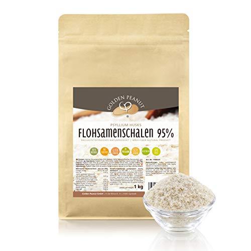 FLOHSAMENSCHALEN 95 prozentige Reinheit | hohe Quellzahl | getestet | allergenfrei | glutenfrei | Vegan | keimreduziert | Low-Carb | 1000 g, 1 kg