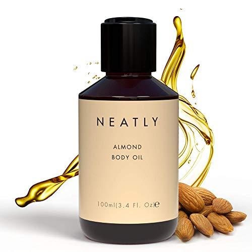 NEATLY 100% Bio Mandelöl - Sweet Almond Oil als Körperöl für sanfte Hautpflege, Mandel Öl Körperpflege für geschmeidige und zarte Haut, Mandelöl Baby, Mandelöl Haare, Mandelöl Bio für Kosmetik - 100ml