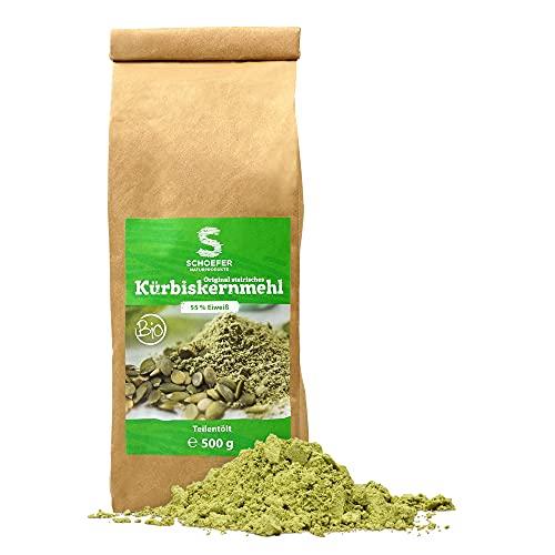 Schoefer Naturprodukte BIO Kürbiskern-Mehl - hoher Ballaststoff- & Eiweißgehalt - vegan & glutenfrei - Low Carb Ernährung - nachhaltige 500g Packung