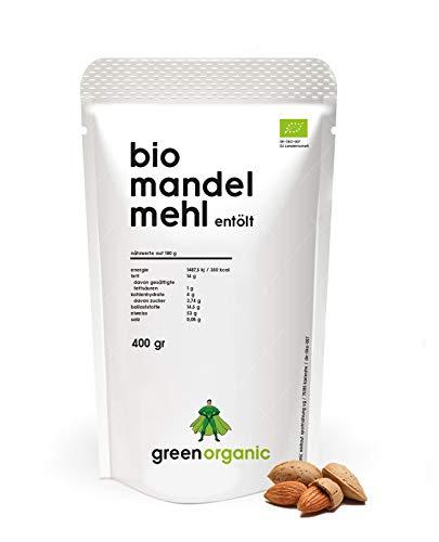 BIO PREMIUM MANDELMEHL – weiß, lower-Carb, glutenfrei, vegan, entölt, proteinreich, ballaststoffreich, Paleo Superfood, nachhaltig und fair angebaut, 400g