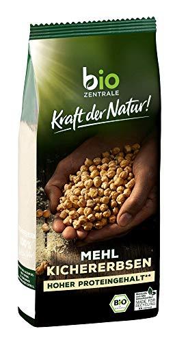 biozentrale Kichererbsenmehl, 350 g Bio-Mehl aus 100 % gemahlenen Kichererbsen, hoher Protein- und Ballaststoffgehalt, von Natur aus vegan und glutenfrei
