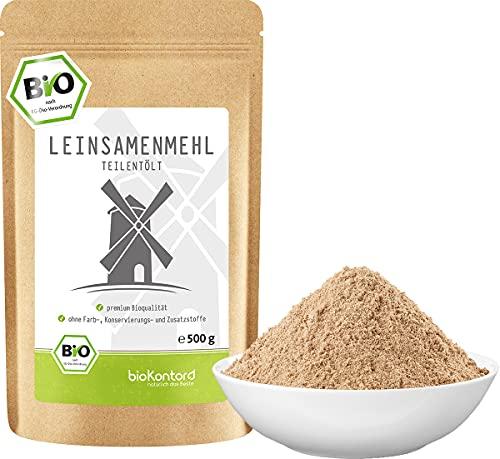 bioKontor // Leinsamenmehl BIO, Leinmehl - teilentölt 500 g, Ballaststoffreich