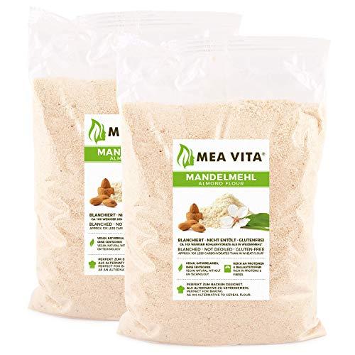 MeaVita Mandelmehl, naturbelassen, blanchiert, (2 x 1000g) gemahlene Mandeln zum Backen, 100% natürlich proteinreich