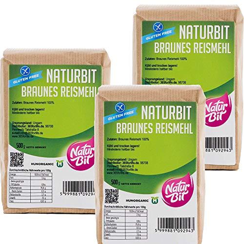 Braunes Reismehl glutenfrei 3 x 500 g Sparpaket   1500 g dunkles Vollkornreismehl zum Backen und Panieren, als Bindemittel und für Teig   glutenfreie Alternative   brown rice flour