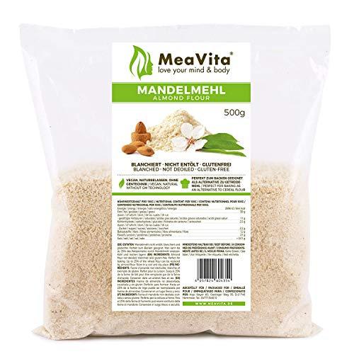 MeaVita Mandelmehl, naturbelassen, blanchiert, 1er Pack (1 x 500g) in praktischer Tüte