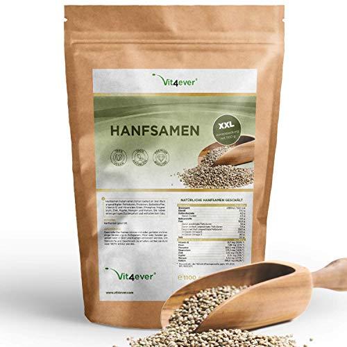 Hanfsamen geschält - 1100 g (1,1 kg) - Laborgeprüft - Natürliche Protein Eiweißquelle - Herkunft Frankreich - Reich an Omega-3 Fettsäuren - 100% Hempseeds - Vegan - Superfood