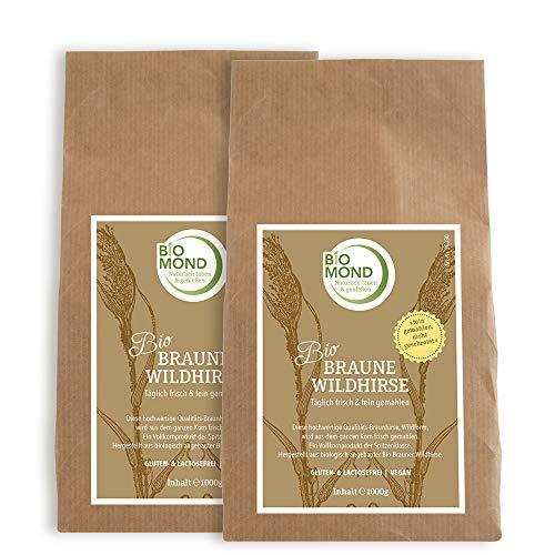 BIO Braunhirse Braune Wildhirse Hirsemehl BIOMOND / 2 x 1000 g Sparpack / frisch gemahlen / vegan / glutenfrei / Rohkostqualität